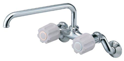 YAZAWA ツーバルブ混合栓 壁付混合栓 キッチン用 パイプ上向きタイプ パイプ長さ:200mm U-MIX K231-LH【smtb-s】