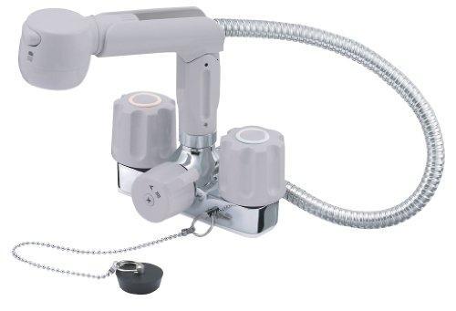 ホース露出タイプ ツーバルブスプレー混合栓(洗髪用) U-MIX YAZAWA 節水水栓 K3104VR-LH【smtb-s】 ゴム栓・一時止水機能付 ホース長さ:0.5m