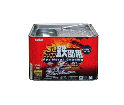 アサヒペン 油性シリコン鉄部用 5L 黒【smtb-s】