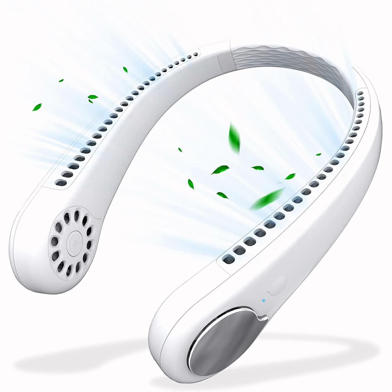 送料無料 メーカー公式 日本から出荷 ネックファン 首掛け扇風機 定番キャンバス 1600mA大容量 風量3段階調整 PSE認証済 全方位送風 静音