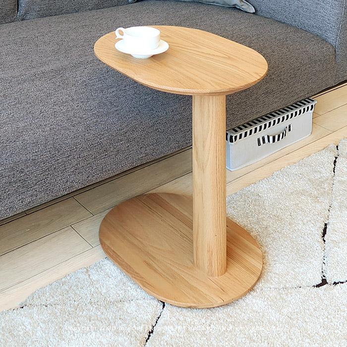 サイドテーブル コーヒーテーブル 個性的なコの字デザイン 丸テーブル オーバル天板 レッドオーク材 レッドオーク無垢材 ウォールナット材