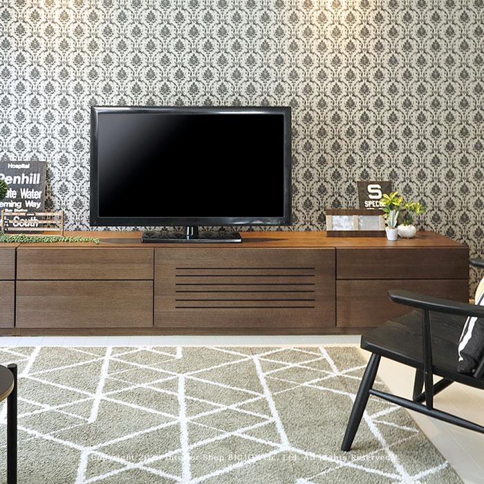 テレビ台 テレビボード 幅215cm 開梱設置配送 オーク材 スリット 86シリーズ ハチロクシリーズ ウォールナット色