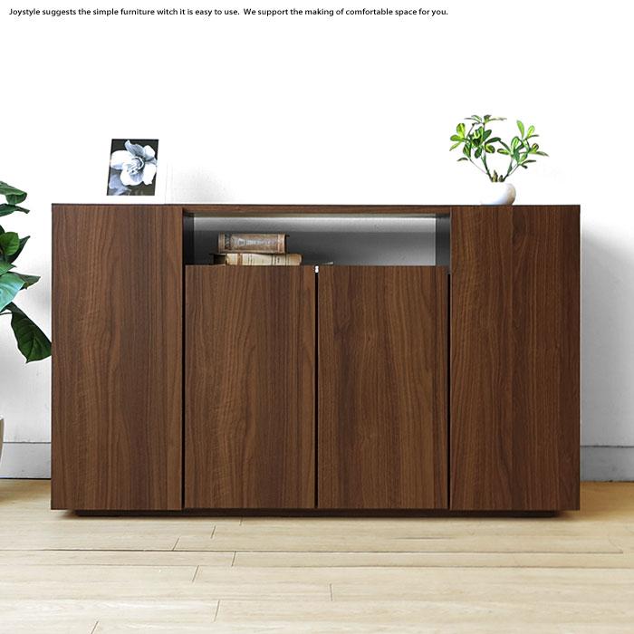 幅120cm奥行39cmの薄型設計 ウォールナット色のシンプルでオシャレなキャビネット サイドボード, 家具のニシムラ 057c0ee0