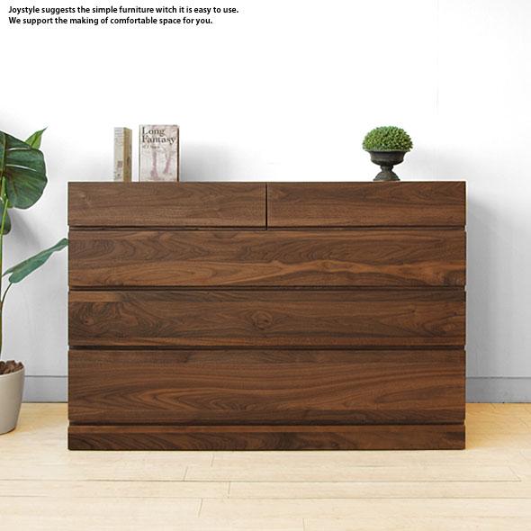 幅120cm ウォールナット材 ウォールナット無垢材 天然木 木製 すべての引き出しがスライドレール付きで使いやすい4段チェスト ローチェスト, インカムアゲイン c96be049