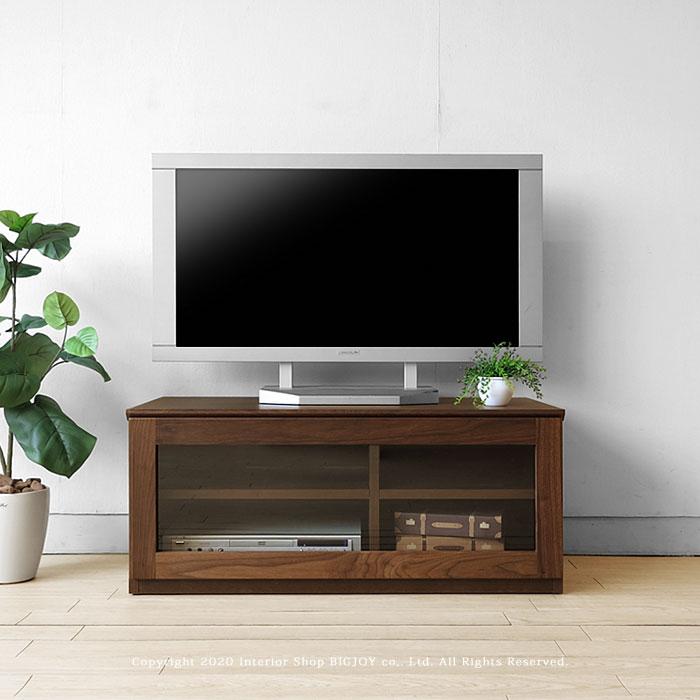 【開梱設置配送】ウォールナット材 ウォールナット無垢材 木製テレビ台 ガラス扉のユニットテレビボード ユニット家具 WONDER-TV90-G ※無垢天板は納期30日