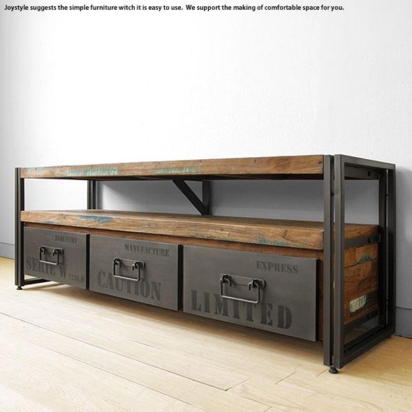 テレビ台 テレビボード ビンテージ 開梱設置配送 幅160cm オールドチーク材 木製テレビ台 古材 アイアン 斬新 かっこいい