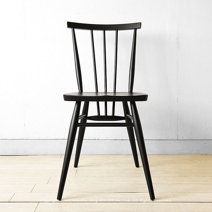 ダイニングチェア ブラック色 タモ材 タモ無垢材 木座 木製椅子 カントリーモダン ウィンザーチェア アンティークチェアがモチーフ