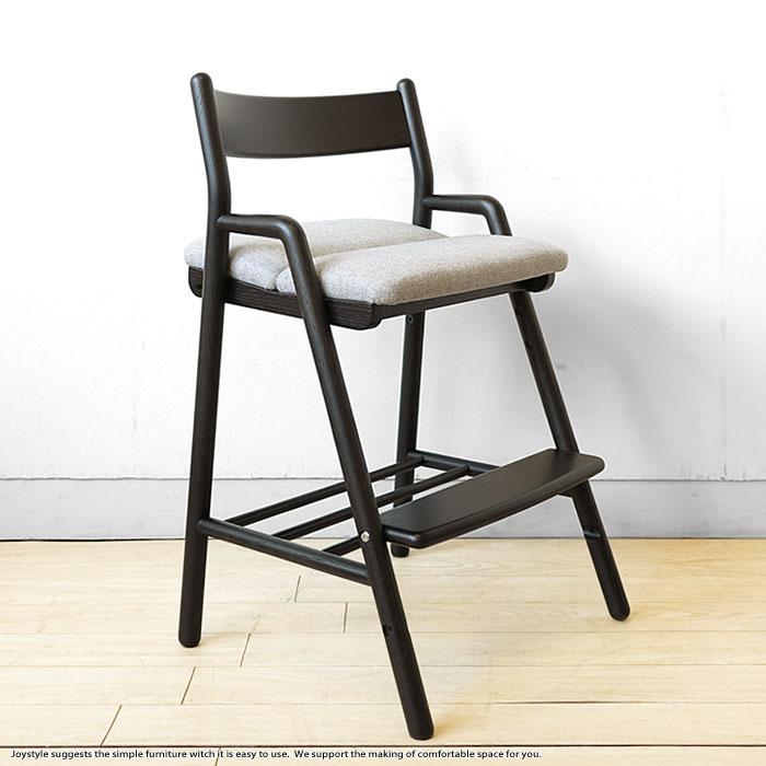デスクチェア 勉強椅子 学習椅子 学習デスクと合わせて使えるキッズチェア ブラック色 受注生産商品 ナラ無垢材 木製 成長に合わせて子供から大人まで使えるナラ材の子供チェア