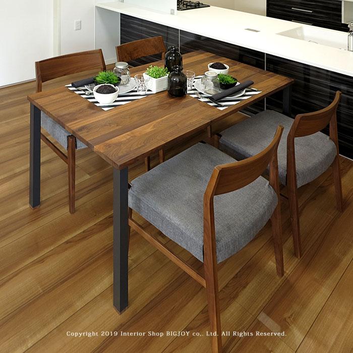 ダイニングテーブル 食卓 幅120cm 幅135cm 幅150cm 幅165cm ウォールナット材 ウォールナット無垢材 ブラック脚 スチール脚 開梱設置配送 オイル仕上げ