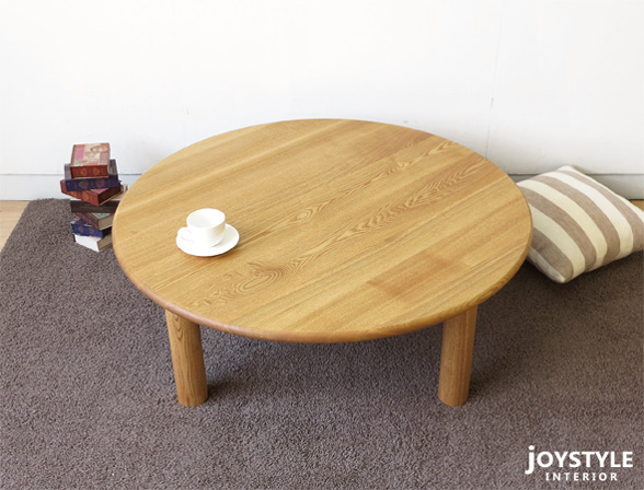 Two Tone Color Combination Dining Table For Both Living With 100 Cm Diameter Ash Wood And Walnut Tool 2 Legs 3 Point Set Tamo