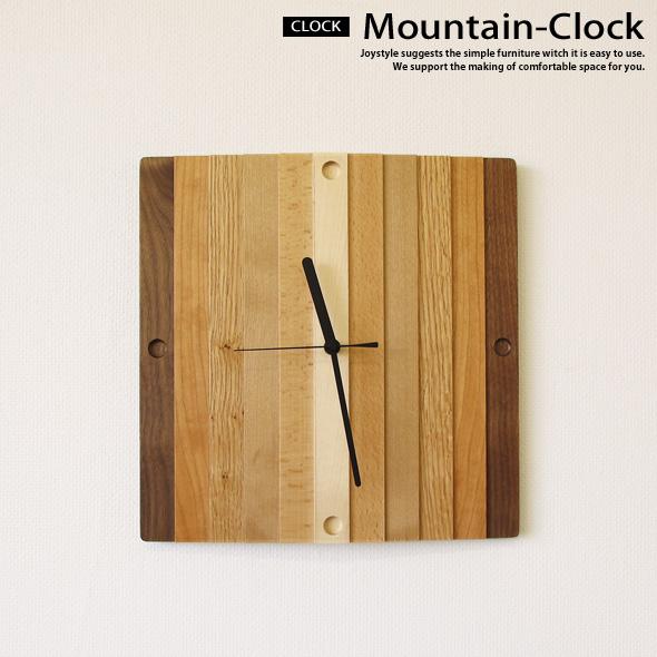 在庫有り ウォールナット材 無垢材 木製 6樹種の木材をミックスしたカラフルで優しげなデザインの壁掛け時計 MOUNTAIN-CLOCK