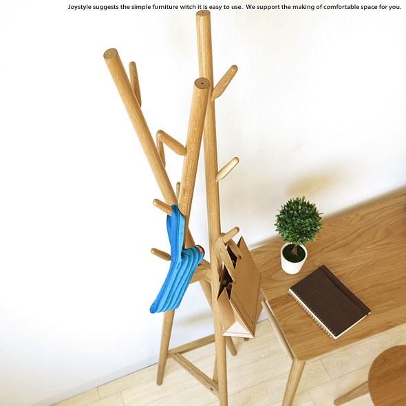 オーク材 オーク無垢材 樹木をモチーフにした遊び心あるデザインのハンガースタンド 帽子や鞄、コートを掛けたりするのに便利