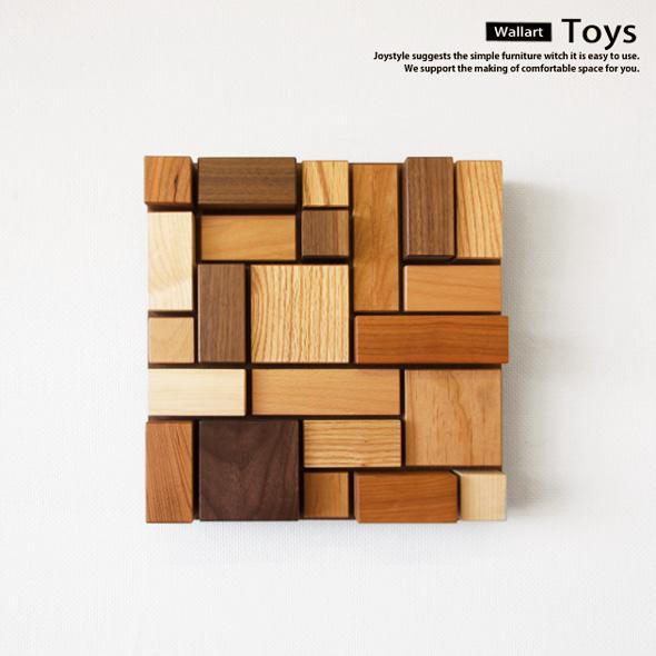 ウォールアート 受注生産商品 6樹種で積み木遊びをしたようなデザインのカラフル TOYS