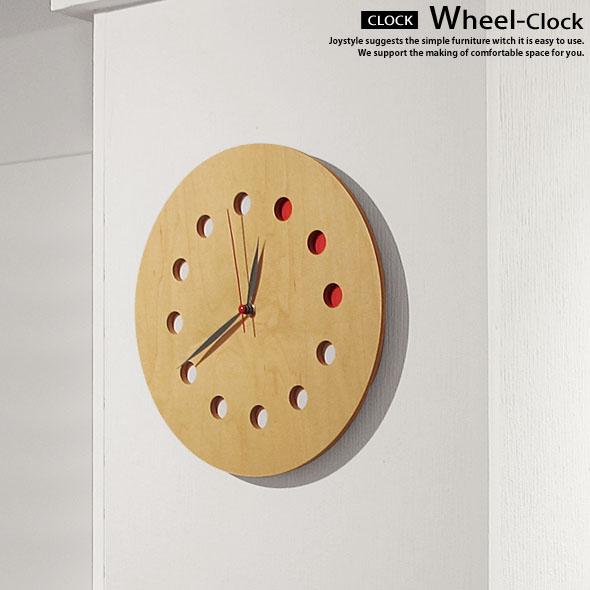 直径28cm メープル材 ウォールナット材 ナラ材 3色展開 ナチュラルな木のぬくもりが魅力的なかわいいデザインの壁掛け時計 WHEEL-CLOCK ネットショップ限定オリジナル設定