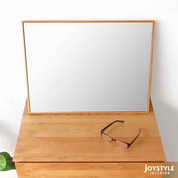 卓上ミラー 置きミラー 置き鏡 幅55cm×高さ40cm アルダ-材とウォールナット材から選べる木製フレーム WONDER-M
