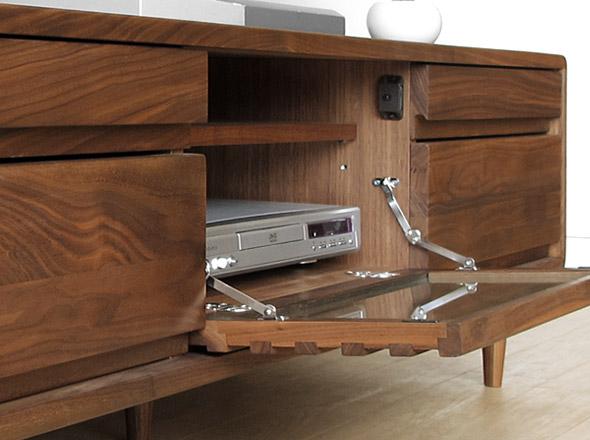 有宽180cm胡桃材角圆形的北欧味道的电视机柜格子门胡桃洁净材的电视板CRUST+180WN滑轨