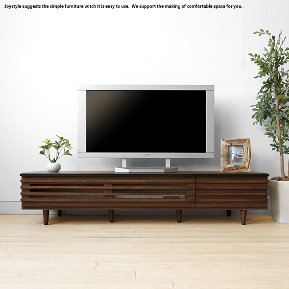 開梱設置配送 幅150cm アルダー材 木製テレビ台 格子状の前板デザインがオシャレでかっこいいテレビボード ウォールナット色