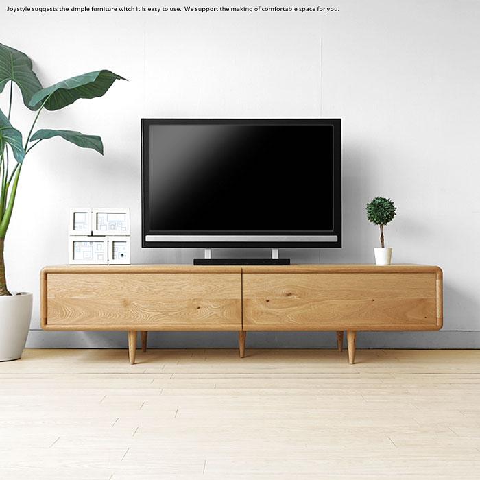 受注生産商品 幅180cm 扉を閉めたままデッキのリモコン操作ができる木扉 北欧家具 丸みのあるテレビボード ローボード テレビ台