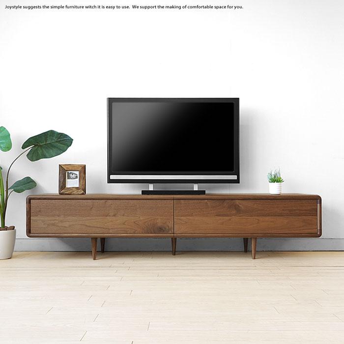 受注生産商品 幅200cm ウォールナット材 ウォールナット天然木 扉を閉めたままデッキのリモコン操作ができる木扉 北欧家具 丸みのあるテレビボード テレビ台 ナラ材でもオーダー可能