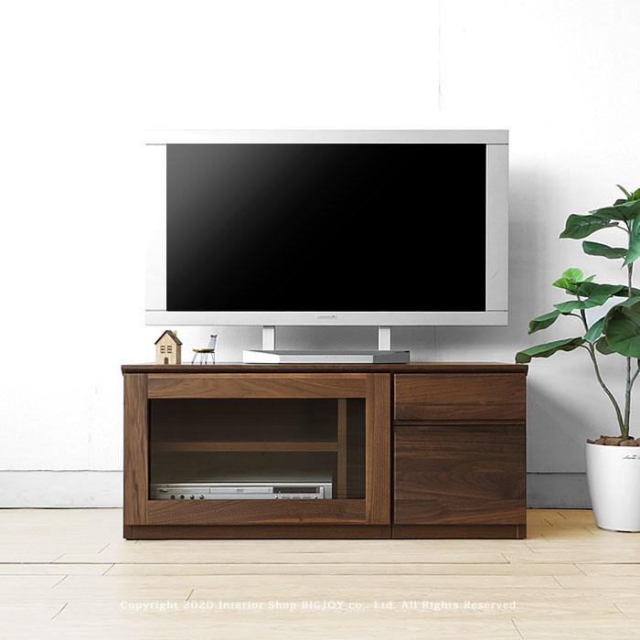 テレビ台 引き出し ガラス扉 ユニットテレビボード ユニット家具 開梱設置配送 ウォールナット材 ウォールナット無垢材 木製 WONDER-TV90-A※無垢天板は納期30日
