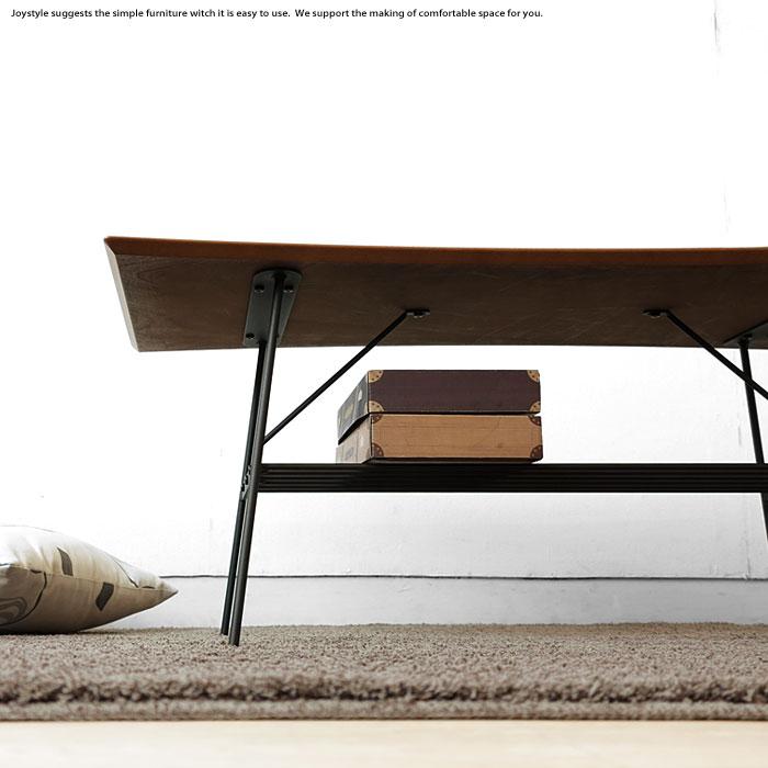 コーヒーテーブル リビングテーブル ヴィンテージ風 アンティーク センターテーブル 幅100cm ウォールナット突板 ブラックスチール 棚付き