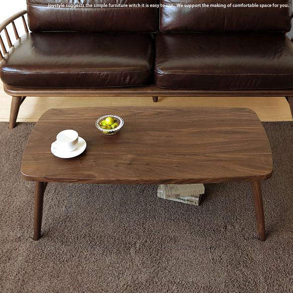 幅100cm ウォールナット無垢材 ウォールナット材の角丸長方形のリビングテーブル ミッドセンチュリーモダンなローテーブル