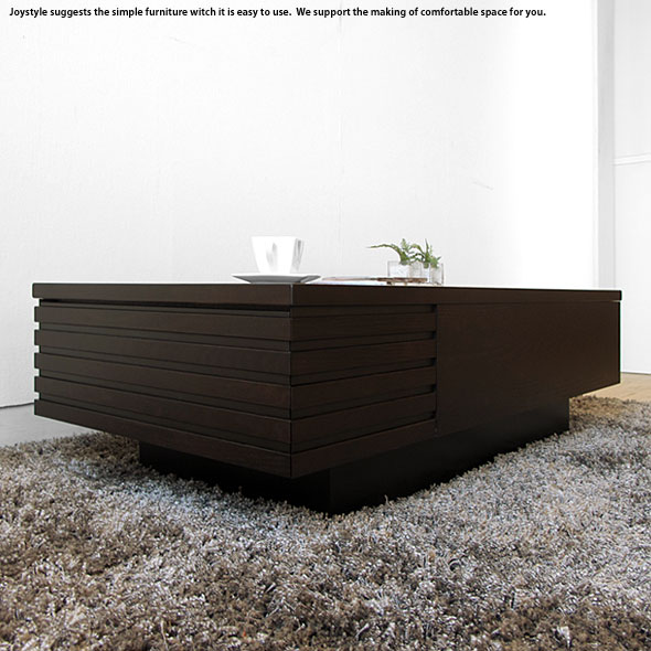 幅110cm オーク材 オーク天然木 2杯の引き出し付きローテーブル モダンリビングにマッチする直線的でかっこいいデザインのリビングテーブル ダークブラウン ナチュラル ホワイト 3色展開