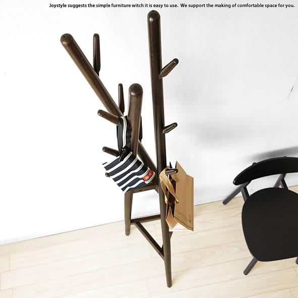 ダークブラウン在庫有り コートハンガー オーク材 オーク無垢材 樹木をモチーフにした遊び心あるデザインのハンガースタンド 帽子 鞄 コートを掛ける