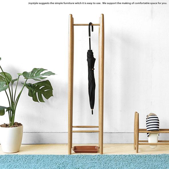 オーク材 オーク無垢材 廊下や室内にも置けるスマートな家具調デザインの傘立て 雨受け用のトレイ付き オーク天然木 アンブレラスタンド ナチュラルテイスト
