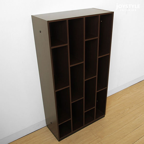 成熟稳重的作为宽60cm高115cm纤细的书架显示器框暗褐色色色调的书架陈列架收藏搁板CACAO-M