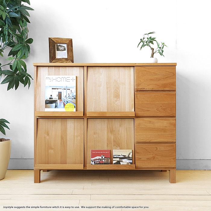 幅105cm アルダー材 アルダー無垢材 天然木 木製本棚 シンプルモダンデザイン オフィス家具 引き出し付きブックシェルフ ナチュラルな質感が魅力的なディスプレイラック チェスト
