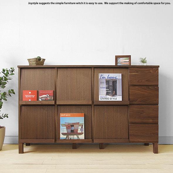 ブックシェルフ ディスプレイラック チェスト 幅143cm ウォールナット材 ウォールナット無垢材 天然木 木製本棚 シンプルモダンデザイン オフィス家具