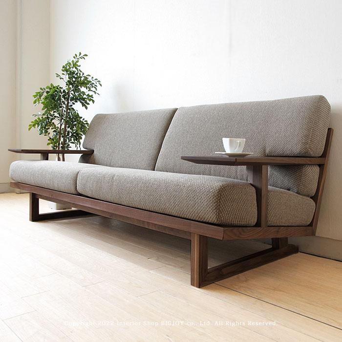 3人掛けソファー 木製ソファ- 3Pソファ- 受注生産商品 ウォールナット材 ウォールナット無垢材 天然木 木製フレーム フルカバーリング SPOKE-LS-WN ※素材によって金額が変わります!