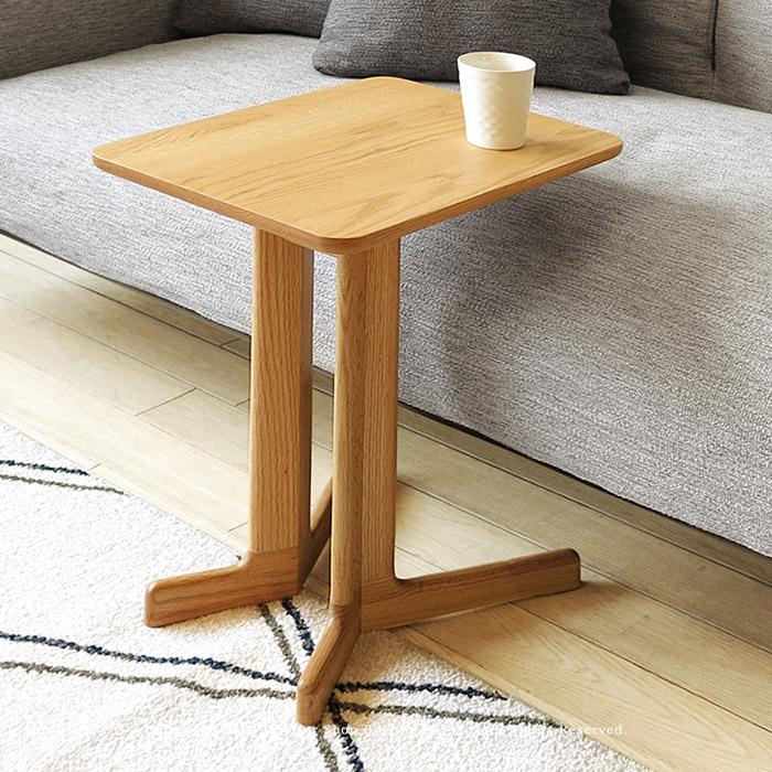 ※現在ウォールナット材欠品中、次回入荷予定は12月下旬頃です。サイドテーブル コーヒーテーブル 個性的なコの字デザイン レッドオーク材 レッドオーク無垢材 ウォールナット材