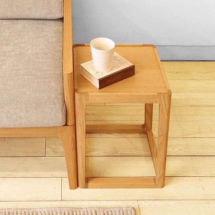 サイドテーブル コーヒーテーブル 30cm角で開放感のあるデザイン 軽量 オーク材 オーク突板 北欧テイスト