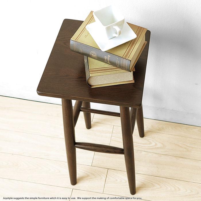 オーク材 幅29cm 四角形の板座のスツール テーブルスツール ハイスツール オーク無垢材 オーク天然木 木製椅子 ナチュラルテイスト 北欧テイスト ダークブラウン