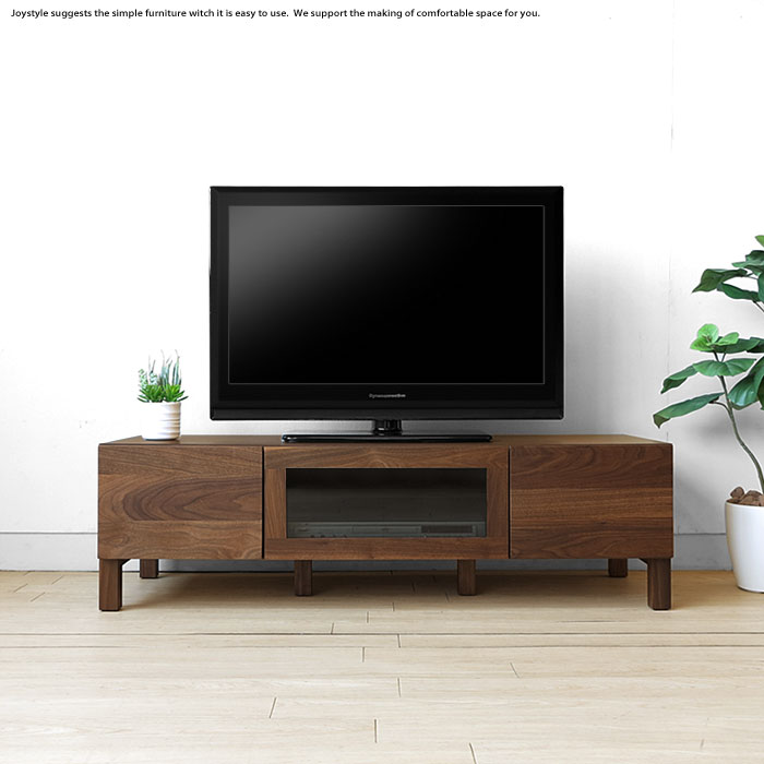 テレビボード テレビ台 開梱設置配送 幅120cm ウォールナット材 ウォールナット無垢材 木製 和モダンテイスト 収納力があるシンプルモダンデザイン ロータイプ ブラックガラス扉