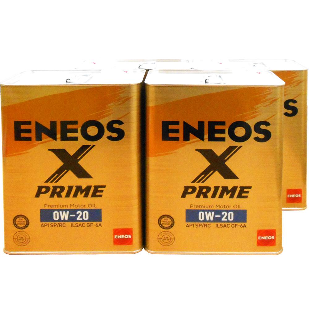 【マイカー割&カードで8倍】【4缶セット】 ENEOS X PRIME (エックスプライム) エンジンオイル 0W-20 SP/RC GF-6A (100%化学合成油) 4L×4缶