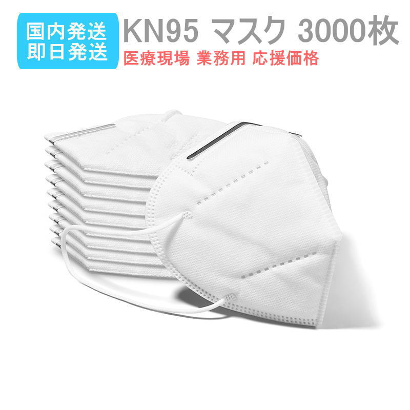 N95マスク 即日発送 送料無料 マスク 国内発送 3000枚KN95規格 医療現場 業務用 応援価格フリーサイズ 介護マスク PM2.5 花粉症 粉塵 などの対策に 大人用
