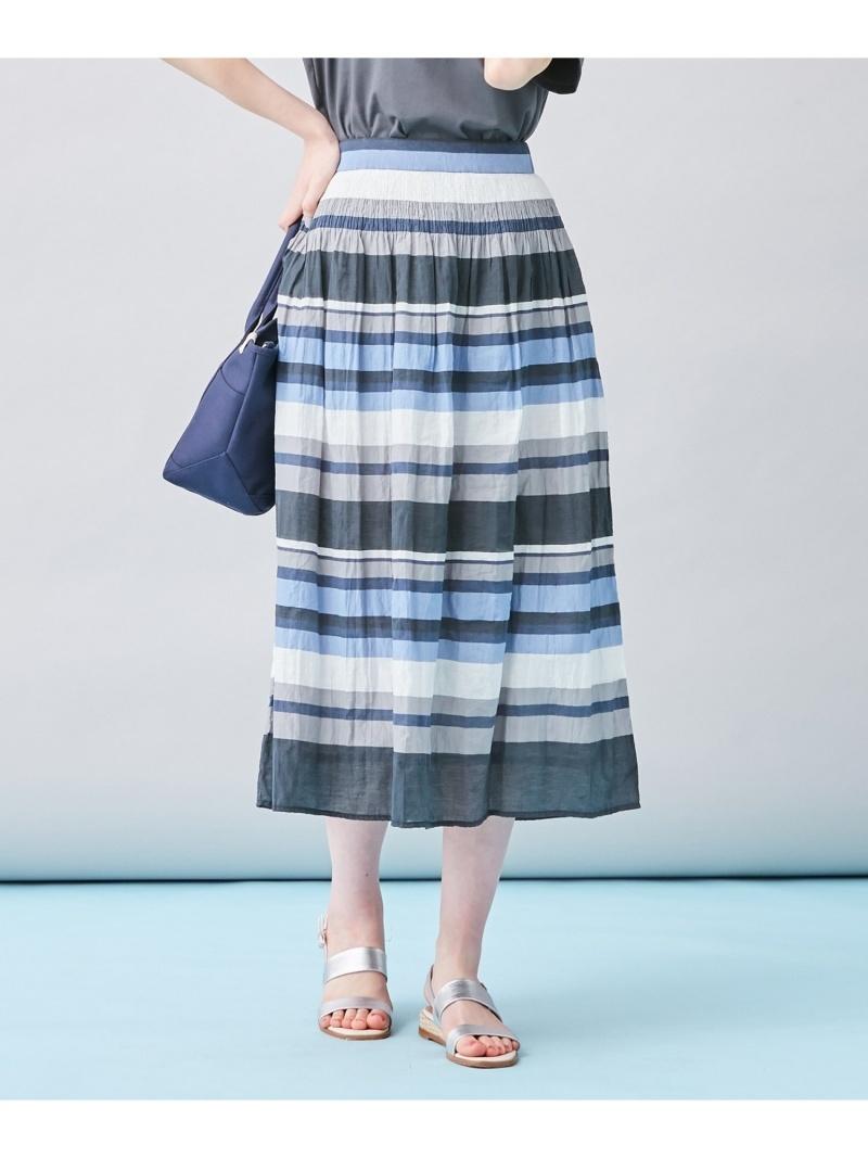 保障 J.PRESS 買物 レディース スカート ジェイプレス LADIES L ネイビー スカートその他 Fashion Rakuten シャーリングランダムボーダースカート 送料無料