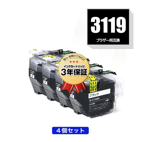 即納 3年安心保証 互換インクカートリッジ 残量表示機能付 MFCJ6980CDW MFCJ6983CDW MFCJ6583CDW スピード対応 全国送料無料 MFCJ5630CDW 期間限定 LC3119BK ブラック LC3117BKの大容量 お得な4個セット ブラザー 用 互換 送料無料 MFC-J658 あす楽 LC3117BK MFC-J6983CDW LC LC3117-4PK 3119 MFC-J6580CDW 保証 MFC-J6980CDW 対応 インク LC3119-4PK LC3117 LC3119 宅配便