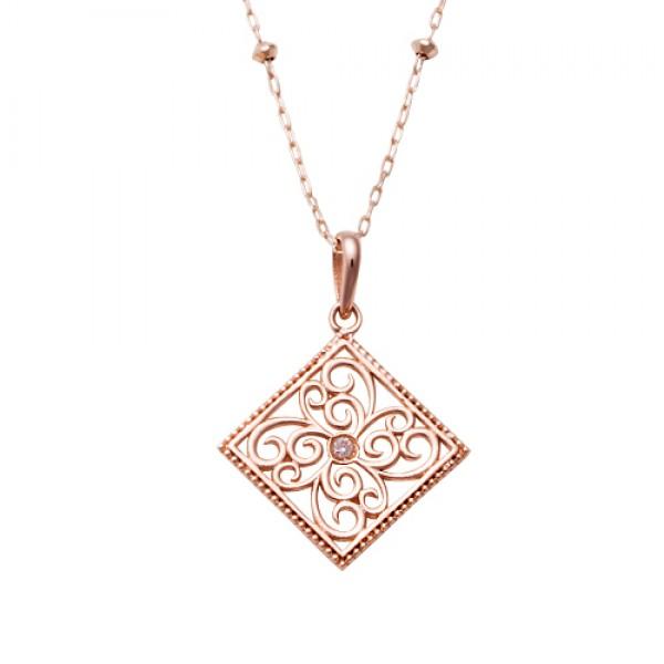 【ANELA】アネラ スクロールネックレス 40cm K10 PG ピンクゴールド AquaBelle アクアヴェール ダイヤモンド 【楽ギフ_包装選択】
