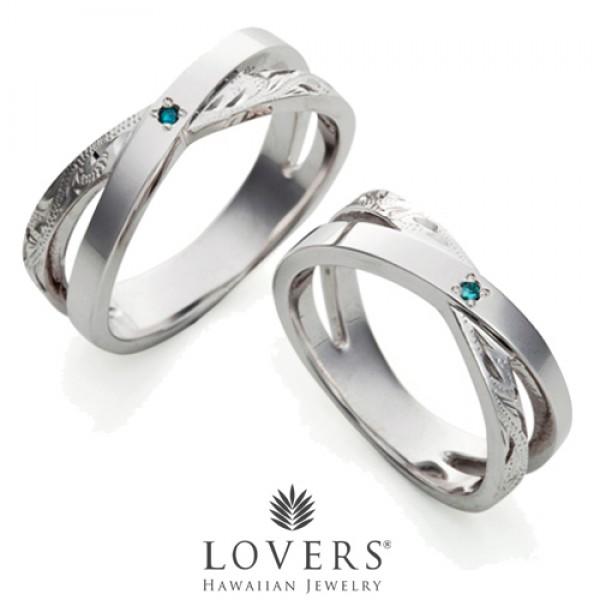 【LOVERS】ラバーズ CROSS RING BLUE DIAMOND ハワイアンジュエリー シルバー リング ペア クロスリングブルーダイアモンド 【楽ギフ_包装選択】