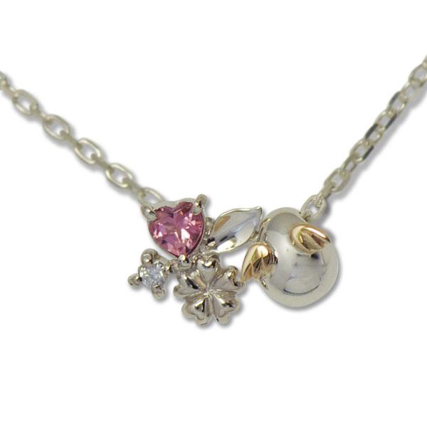 Silver K10 pink tourmaline pendant necklace SV Silver necklace