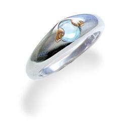 【天使の卵】 シルバー K18 ブルーキュービックジルコニア リング SV Silver 指輪 ring【楽ギフ_包装選択】