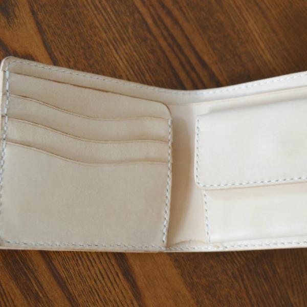 f14e9e9c601e ショートウォレット ハーフウォレット ラティス柄 メンズ イタリアンレザー ヌメ革 本革 ビルフォード ナチュラル ハンドメイド 手仕事 2つ折り財布- メンズ財布