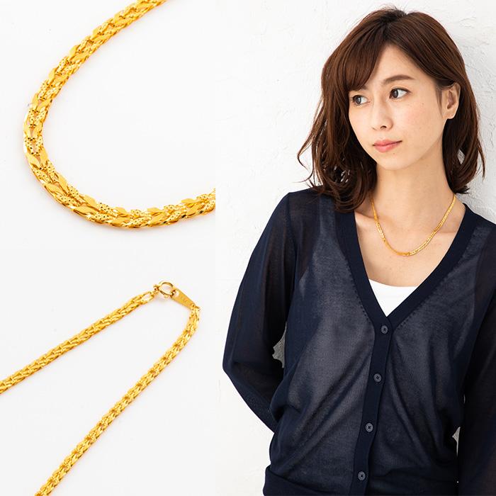 24金 K24 純金 ネックレス チューリップデザイン グラデーションネックレス 約45cm 約9.1g【造幣局品位証明刻印】