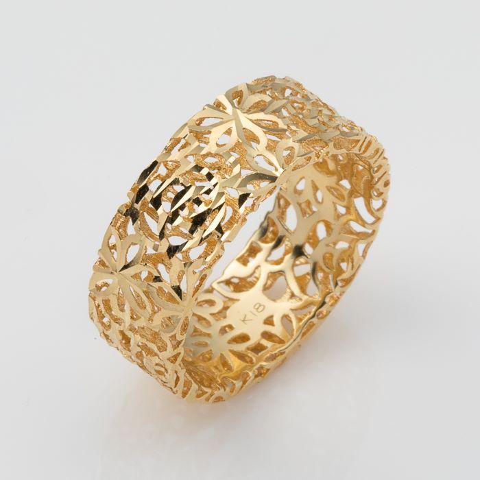 K18 リング ゴールド 年中無休 指輪 出色 レディース アラベスクデザイン 透かしデザイン k18 18金