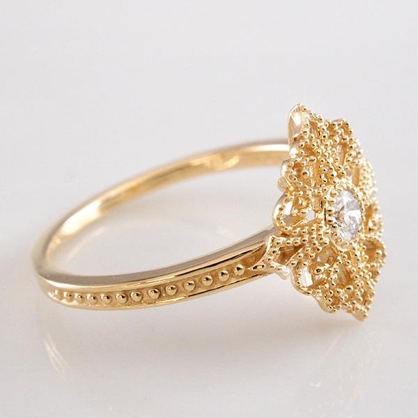 K18YG アンティークデザインリング 透かし ダイヤモンド0.09ct 7~20号 18金イエローゴールド