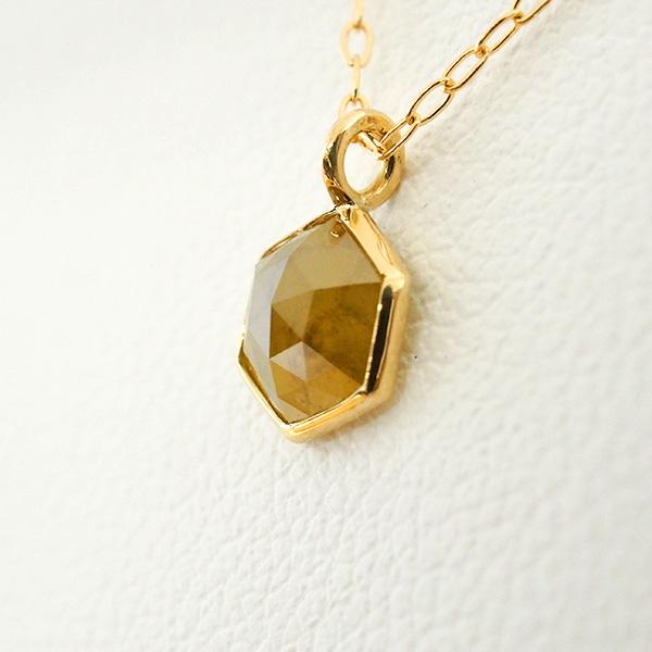 【20%OFF対象】K18ゴールド ナチュラルダイヤモンド ローズカット ペンダント(イエロー系) 長さ約40cm 18金